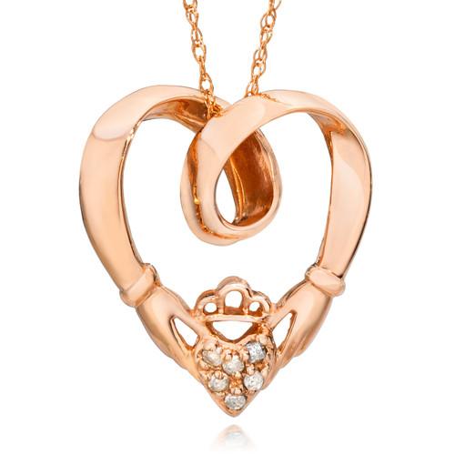 Claddagh Diamond Pendant 14K Rose Gold (G/H, I2-I3)