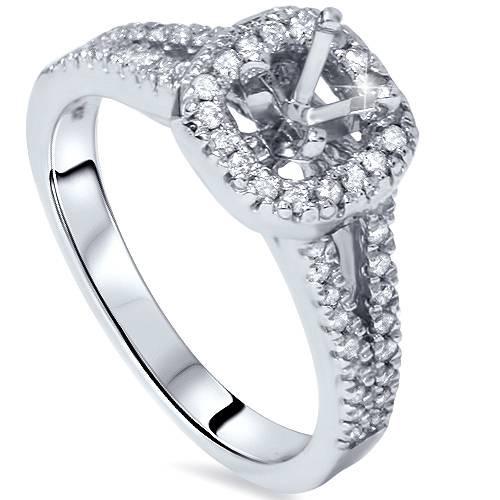 1/3ct Diamond Halo Ring 14K White Gold (G/H, I2)