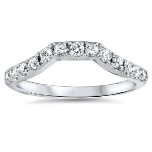 14K White Gold 3/8ct Diamond Wedding Anniversary Curved Guard Ring (G/H, I1)