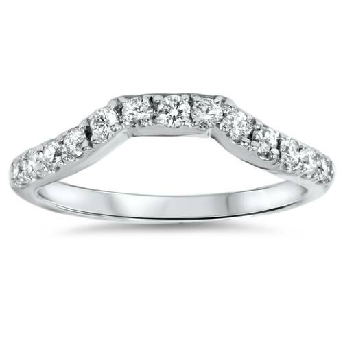 14K White Gold 3/8ct Diamond Wedding Anniversary Curved Guard Ring (G/H, I1)