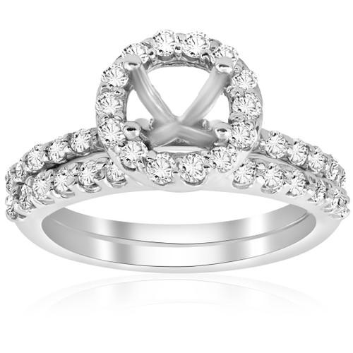 7/8ct Diamond Engagement Wedding Ring Setting 14K White Gold Mounting (G/H, I1)