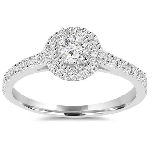 3/4ct Lab Grown Hao Diamond Engagement Ring Eco-Friendly 14K White Gold (F/G, VS/SI)