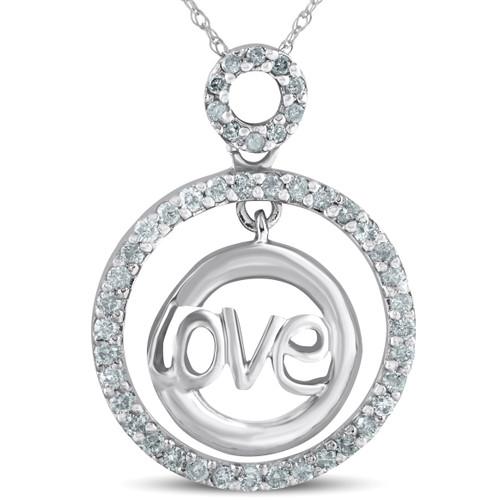 14k White Gold 1/2ct Diamond Love Circle Pendant Necklace (G/H, I2)
