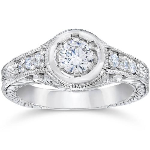 Vintage Diamond Engagement Ring 5/8ct 14K White Gold Hand Engraved Style (G/H, I1)