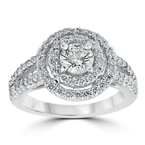 1 1/2 cttw Pave Double Halo Round Brilliant Cut Engagement Ring 14K White Gold (G/H, I1)