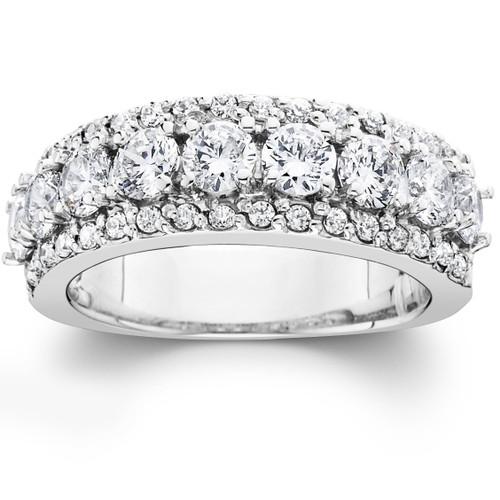 1 1/2ct Diamond Wedding Ring Womens Anniversary Band 14k White Gold (G/H, I1)