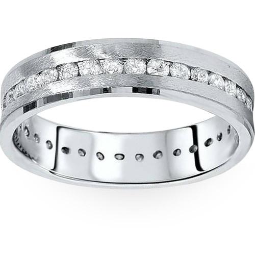 1 1/4ct Channel Set Diamond Brushed Ring 14K White Gold (G/H, I1)