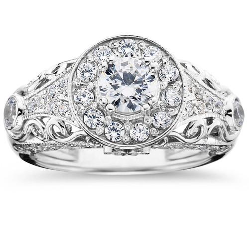 1 1/2ct Vintage Diamond Engagement Ring 14K White Gold (G/H, I1)