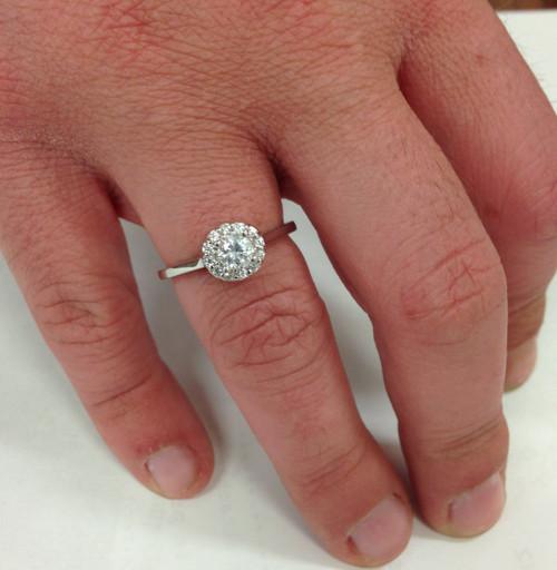 1/2ct Round Diamond Halo Engagement Ring 14K White Gold (G/H, I1-I2)