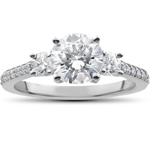 2 ct Round Diamond 3-Stone Lab Created Eco Friendly Engagement Ring White Gold (F, VS)