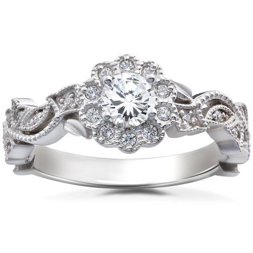 1/2CT Diamond Vintage Petal Engagement Round Halo Ring 14K White Gold (H/I, I1-I2)