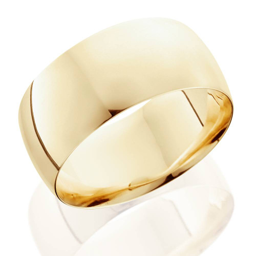 10mm Comfort Fit 14K Yellow Gold Wedding Band Mens Ring