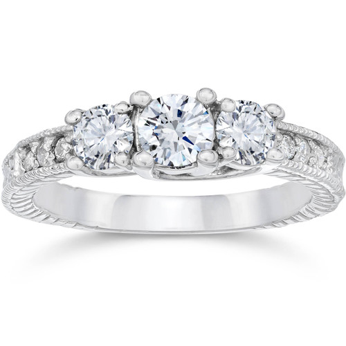 1 Carat Vintage 3-Stone Diamond Engagement Anniversary Ring 10k White Gold (I/J, I2-I3)
