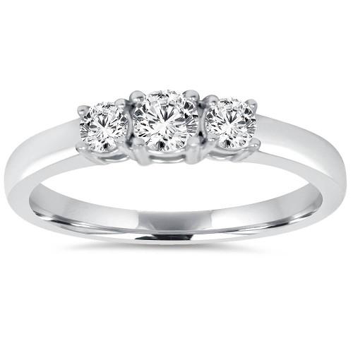 3/4CT Diamond 3 Stone Engagement Ring 14K White Gold (H/I, I1-I2)