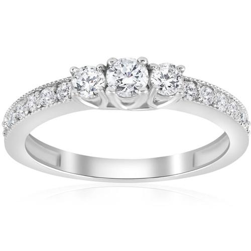 1/2ct 3 Stone Diamond Ring 14K White Gold (G/H, I1-I2)