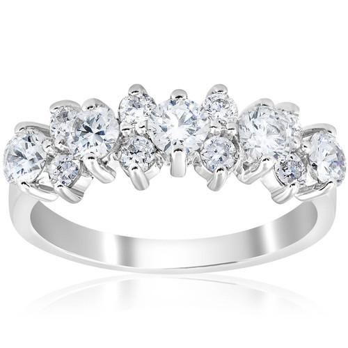 1 1/4 CT Diamond Wedding Anniversary Ring 14K White Gold (H/I, I1-I2)
