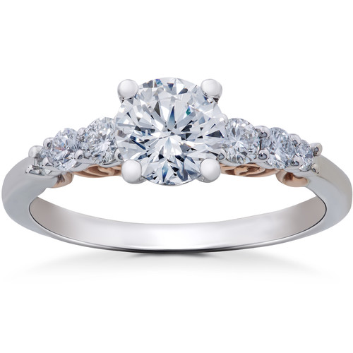 7/8 ct Graduated Diamond Lab Created Engagement Ring 14K White & Rose Gold (F, VS)