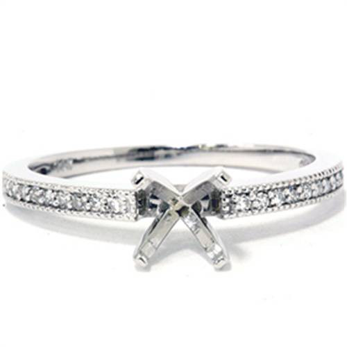 1/10 Ct Diamond Engagement Semi Mount Ring 14K White Gold (G/H, I2-I3)