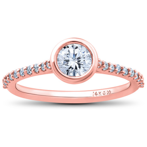 1 3/4 ct Charlotte Diamond Engagement Ring 14k Rose Gold Lab Grown Bezel Round (F/G, VS2-SI1)