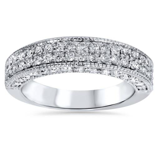 1 1/10ct Pave Diamond Wedding Ring 14K White Gold (G/H, I1)