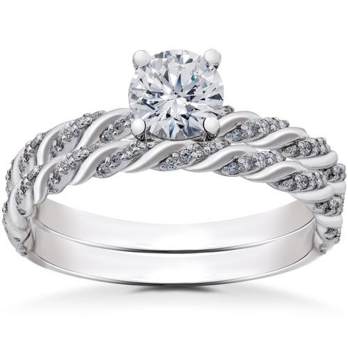 1 ct Lab Grown Diamond Mia Engagement Ring & Matching Wedding Band 14k White Gold (F, VS)