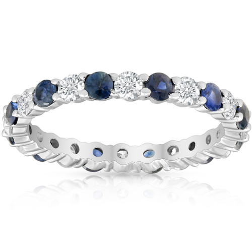 1 1/2ct Sapphire & Diamond Eternity Wedding Ring 14K White Gold (G/H, I1)