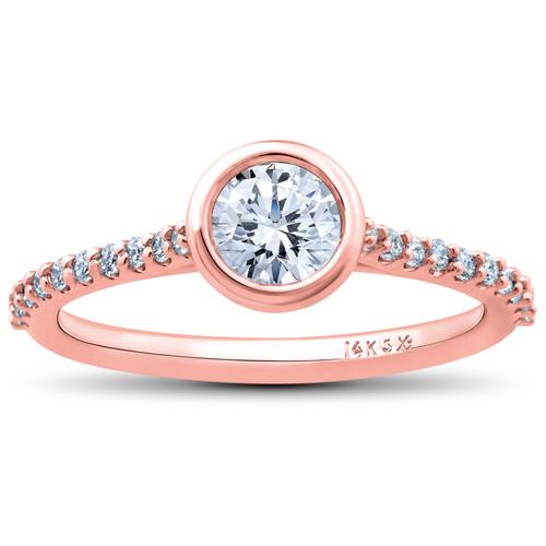 3/4ct Charlotte Diamond Engagement Ring 14k Rose Gold Lab Created Bezel Round (((G-H)), SI(1)-SI(2))