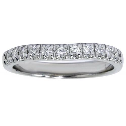 White Gold 1/4ct Diamond Curved Wedding 14K New Ring (G/H, I1)