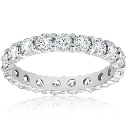 Diamond Eternity Ring 2 Carat Womens Stackable Wedding Band 14K White Gold (J-K, I2-I3)