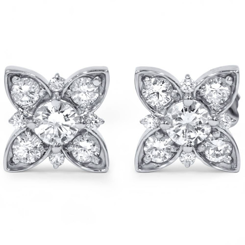 1 ct Floral Starburst Diamond Studs 14K White Gold (H/I, I1-I2)