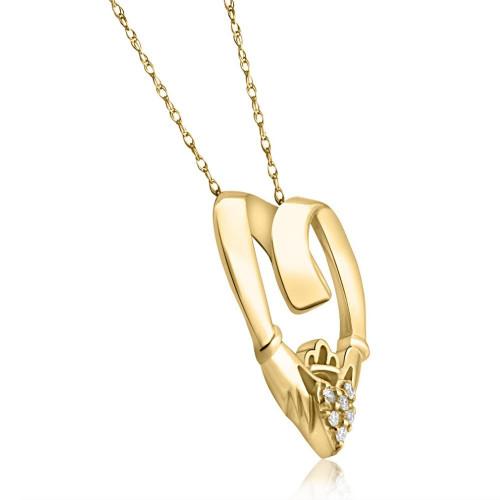 Claddagh Diamond Pendant 14K Yellow Gold (G/H, I2-I3)