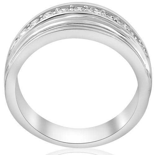 1/2 Carat Mens Diamond Wedding Ring 10K White Gold (H/I, I1-I2)