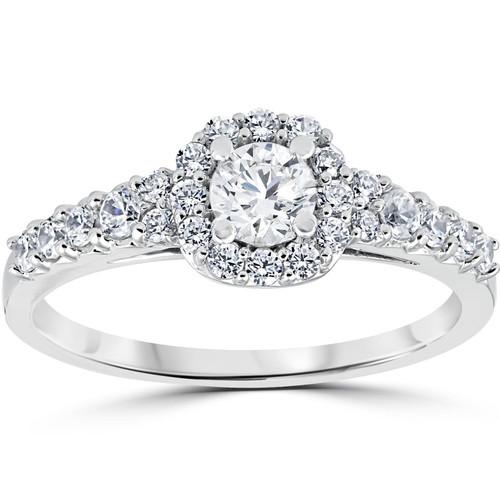 3/4CT Cushion Halo Round Diamond Engagement Ring 14K White Gold (H/I, I1-I2)