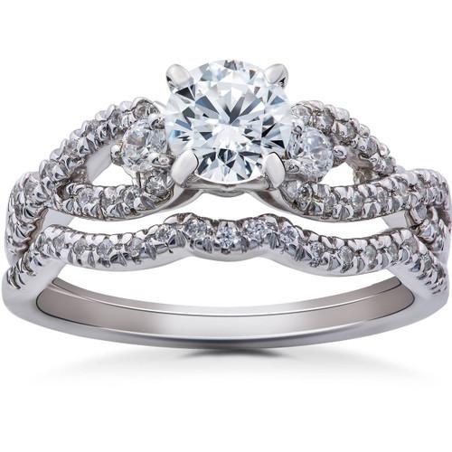 1 1/6ct Diamond Infinity Engagement Wedding Ring Bridal Set 14K White Gold (G/H, I1)