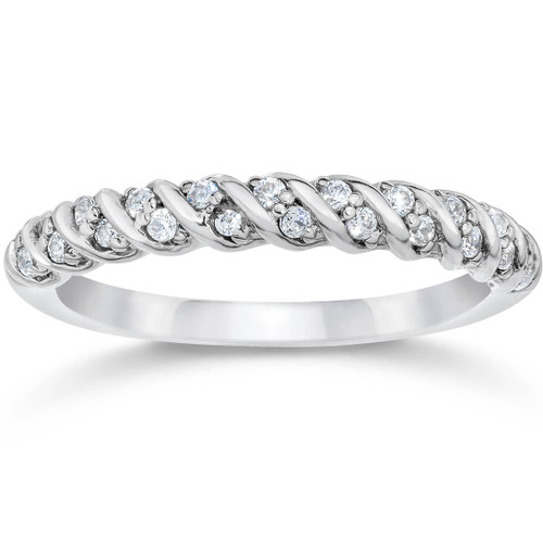 1/3CT Diamond Braided Wedding Ring 10K White Gold (H/I, I1-I2)