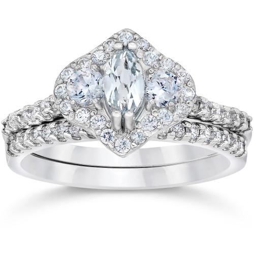 1 3/4ct Marquise Halo Diamond Vintage Engagement Ring Set 14K White Gold (H/I, I1-I2)