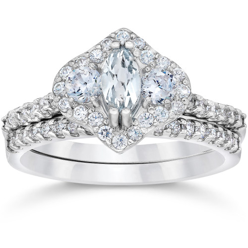 1 3/4ct Marquise Halo Diamond Vintage Engagement Ring Set 14K White Gold (H/I, I1-I2)