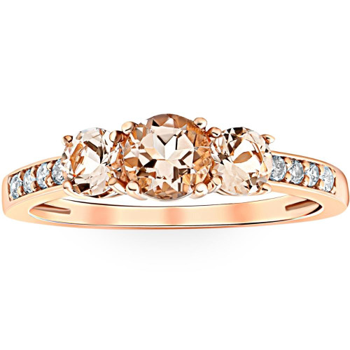 1ct Morganite & Diamond 3-Stone Ring 10k Rose Gold (Peach, I1)