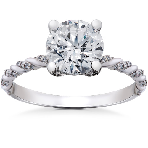 1 5/8 ct Lab Grown Round Eco Friendly Diamond Mia Engagement Ring 14k White Gold (F, VS)