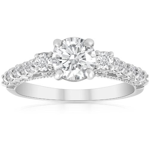 1 1/2ct Diamond Vintage 3 Stone Engagement Ring 14k White Gold (H/I, I1-I2)
