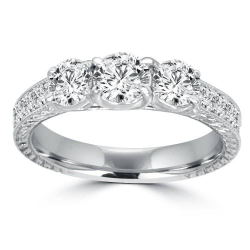 1 1/2ct Vintage Three Stone Round Diamond Engagement Ring 14K White Gold (H, I1)