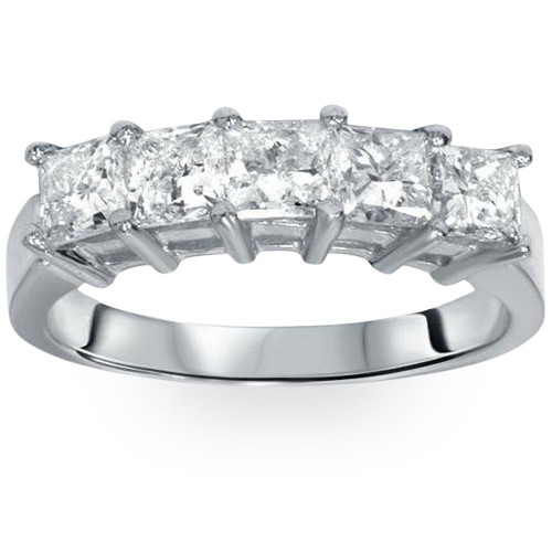 2ct Princess Cut Diamond Wedding Anniversary Ring Womens Band 14k White Gold (H, I1)