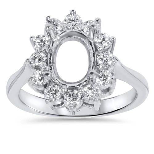 5/8ct VVS 18K Oval Diamond Halo Ring Setting Semi Mount (F, VVS)
