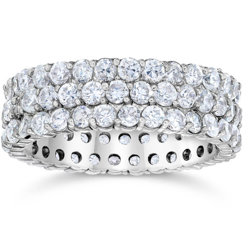 3 1/2ct 3-Row Lab Grown Diamond Eternity Ring 14K White Gold (F, VS)