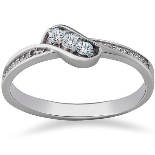 1/6ct 3-Stone Diamond Promise Engagement Ring 14K White Gold (G/H, I1-I2)