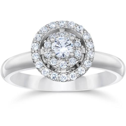 5/8 Carat Vintage Halo Diamond Engagement Ring 14K White Gold (G-H, I1-I2)