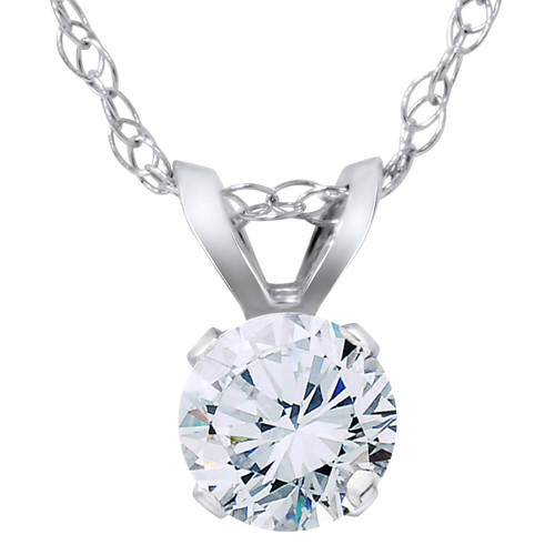 1/2ct Solitaire Round Diamond Pendant 14K White Gold (I-J, SI2-SI3)