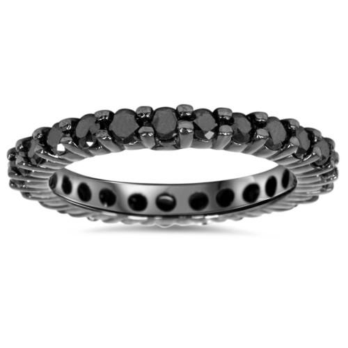 1ct Black Diamond Eternity Wedding Ring 14K Black Gold (Black, AAA)