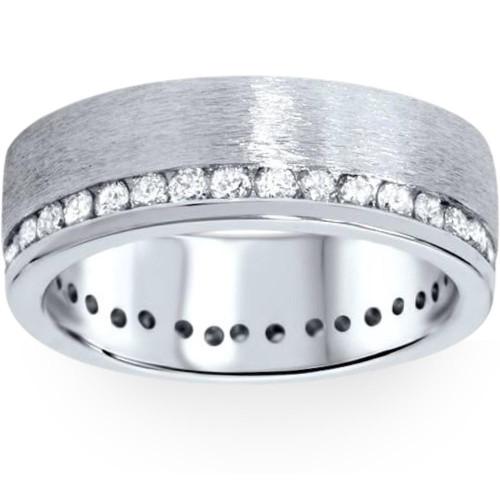 1 1/10ct Diamond Eternity Wedding Ring Brushed 14K Band (G/H, I1)