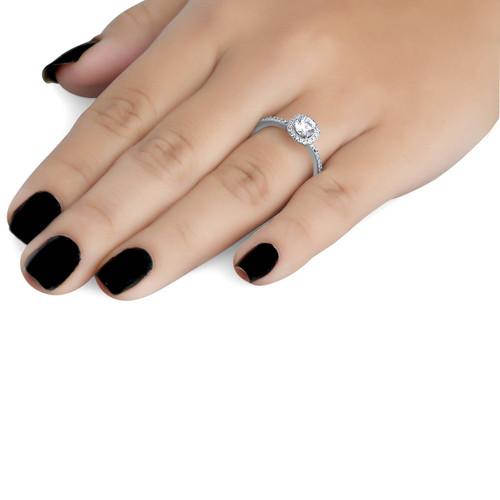 1ct Diamond Engagement Ring Cushion Halo 14K White Gold (G/H, I1)